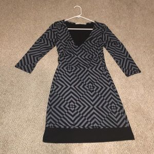 41 Hawthorne dress, w/ black and gray geo print, S